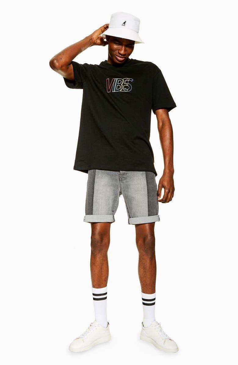 TOPMAN Miko Denim Shorts, Main, color, 003