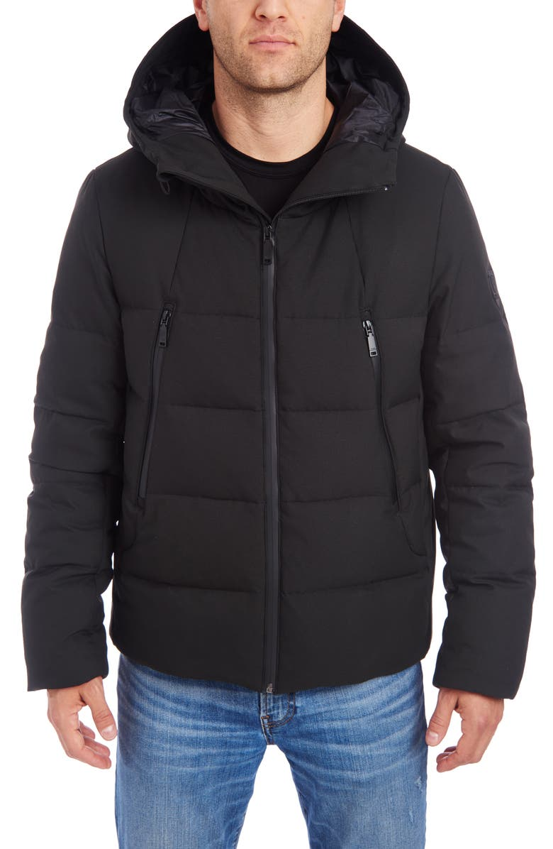 VINCE CAMUTO Hooded Stretch Puffer Jacket, Main, color, BLACK