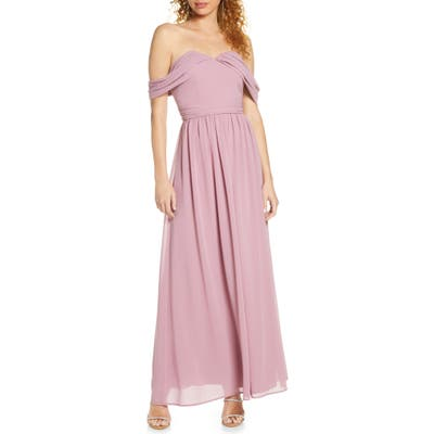 Chi Chi London Albanie Off The Shoulder Chiffon Gown, Pink