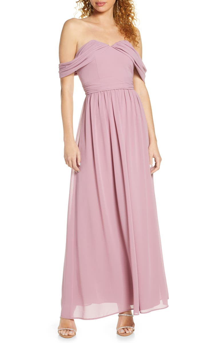 CHI CHI LONDON Albanie Off the Shoulder Chiffon Gown, Main, color, MINK