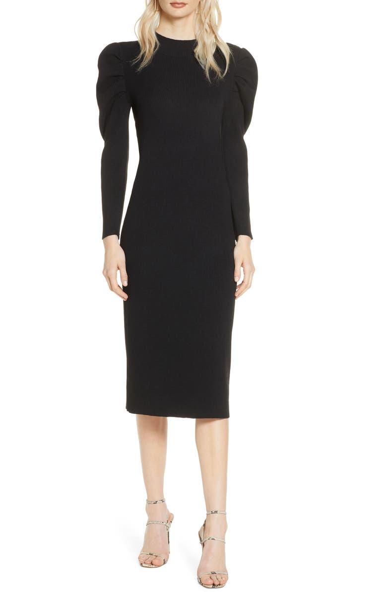 CHELSEA28 Long Sleeve Midi Sweater Dress, Main, color, BLACK