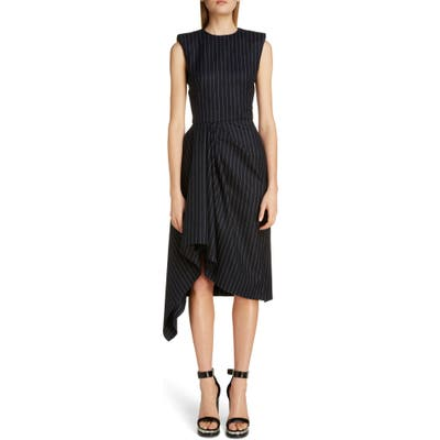 Alexander Mcqueen Pinstripe Asymmetrical Drape Midi Dress, US / 42 IT - Blue