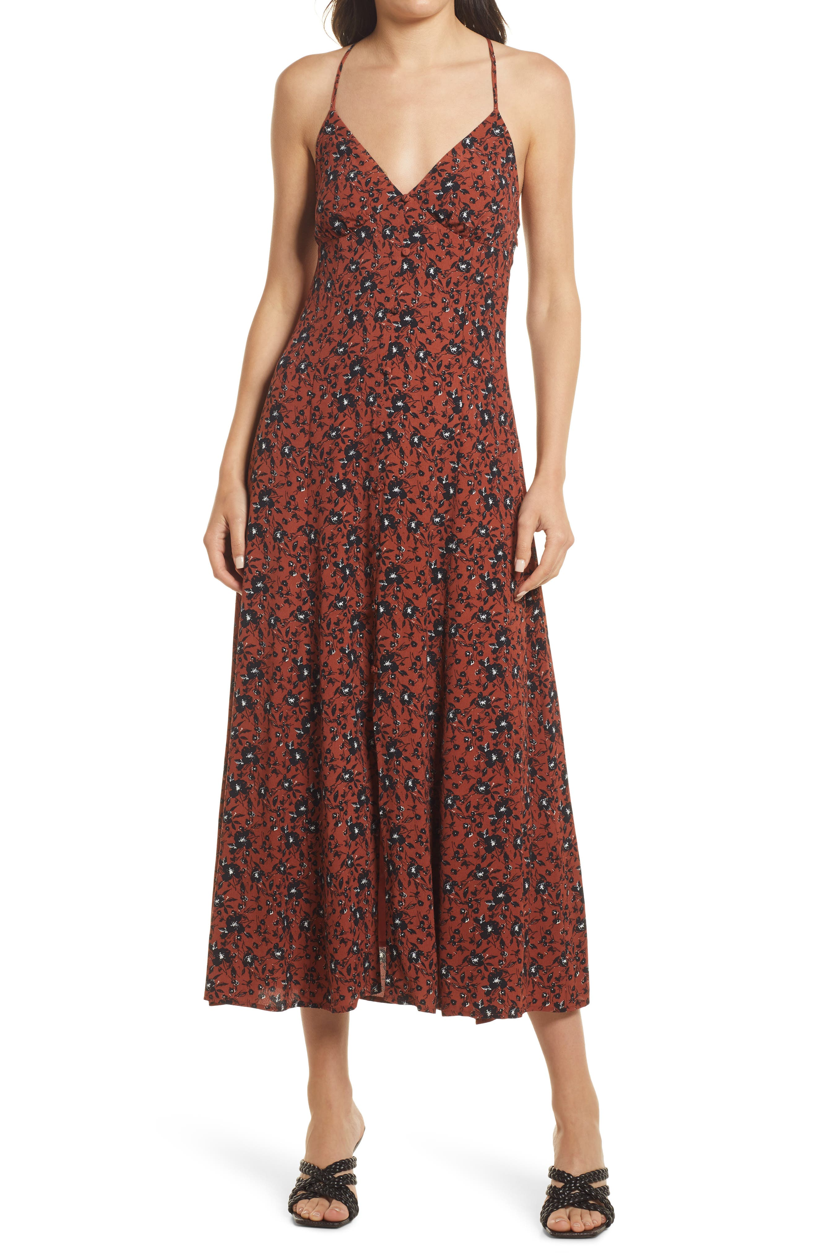 Cami Front Button Maxi Dress