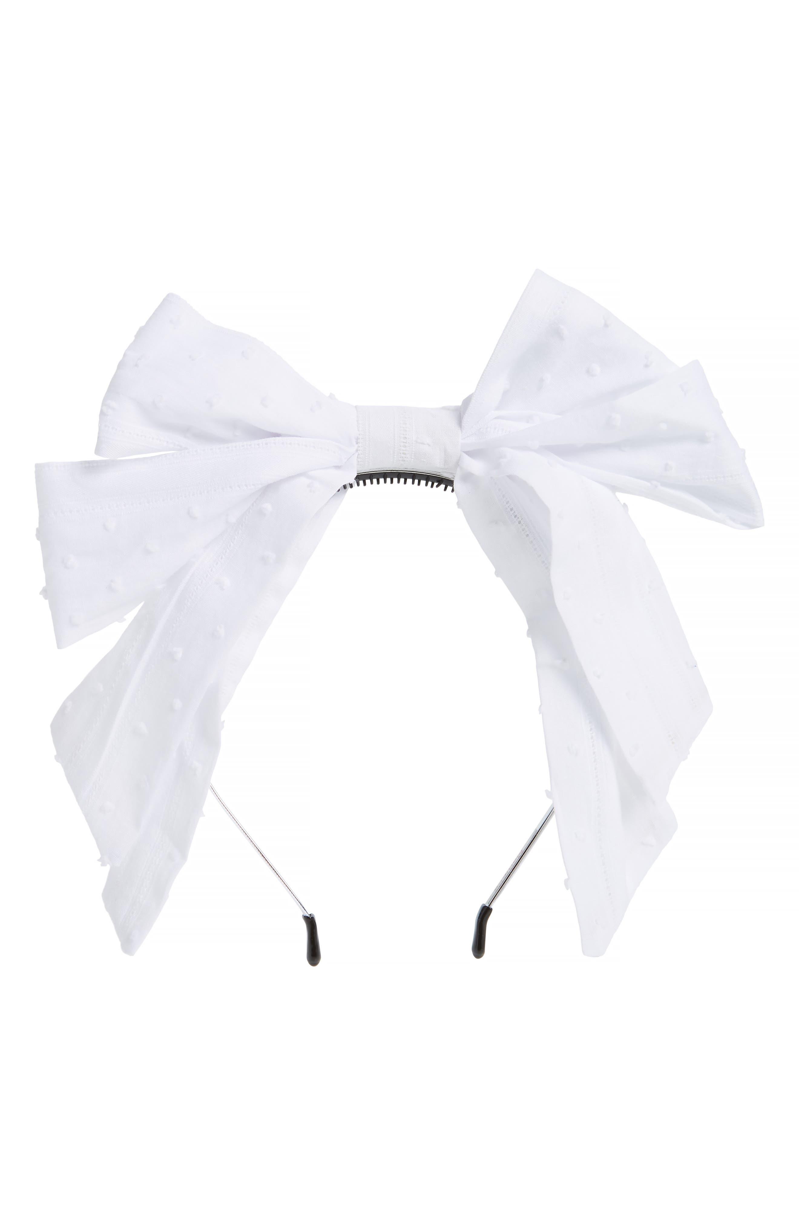 Swiss Dot Bow Headband, Main, color, WHITE