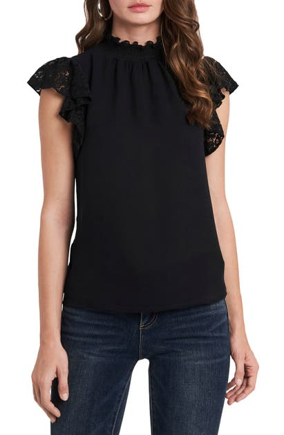 1.state FLUTTER LACE SLEEVE SMOCKED TOP