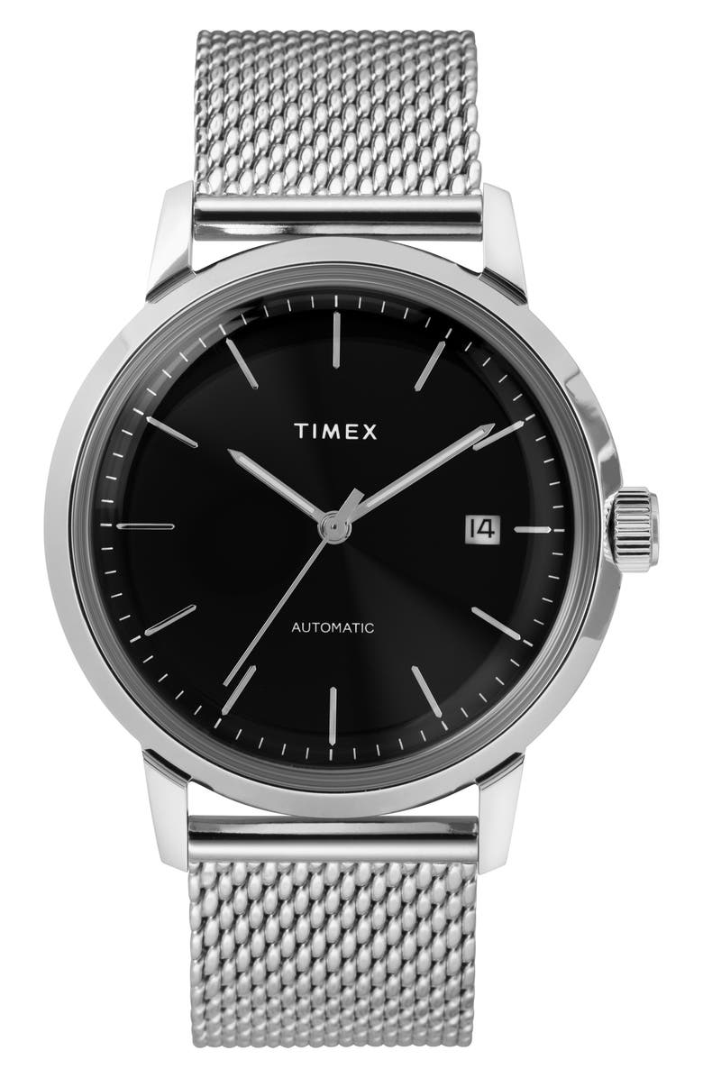 TIMEX<SUP>®</SUP> Marlin Mesh Strap Automatic Watch, 40mm, Main, color, SILVER/ BLACK/ SILVER
