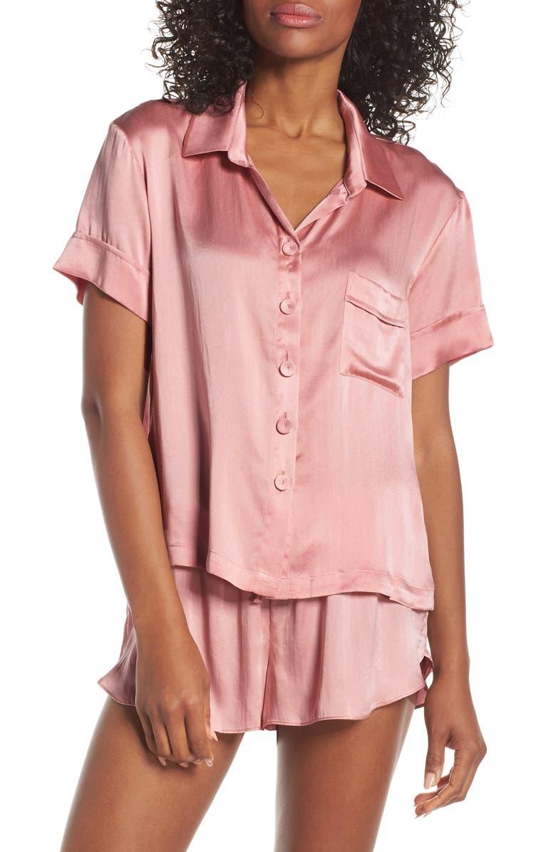 PAPINELLE Silk Short Pajamas, Main, color, DARK PINK