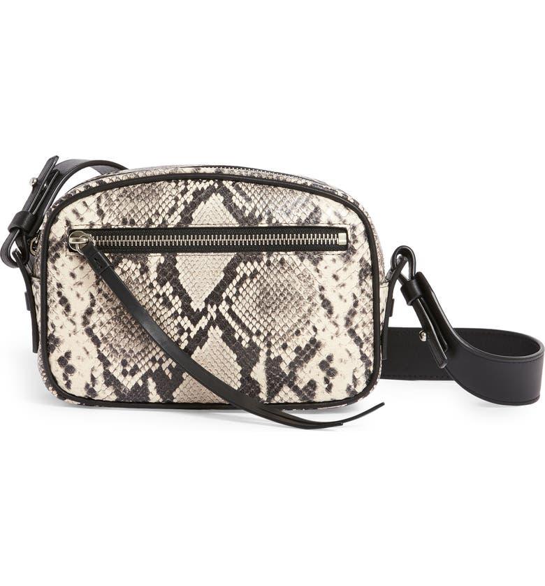 ALLSAINTS Sliver Snake Embossed Leather Belt Bag, Main, color, NATURAL