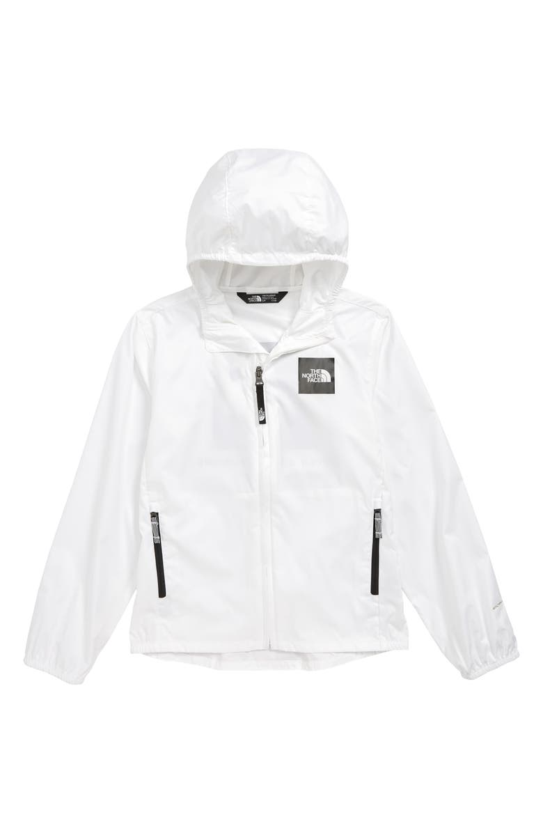 THE NORTH FACE Flurry Water Repellent Hooded Windbreaker, Main, color, TNF WHITE