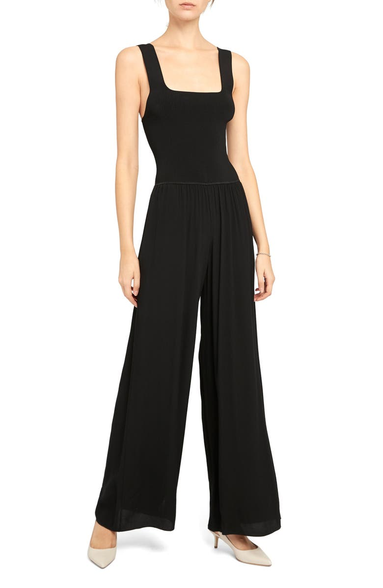 THEORY Ribbed Square Neck Jumpsuit, Main, color, BLACK - 001