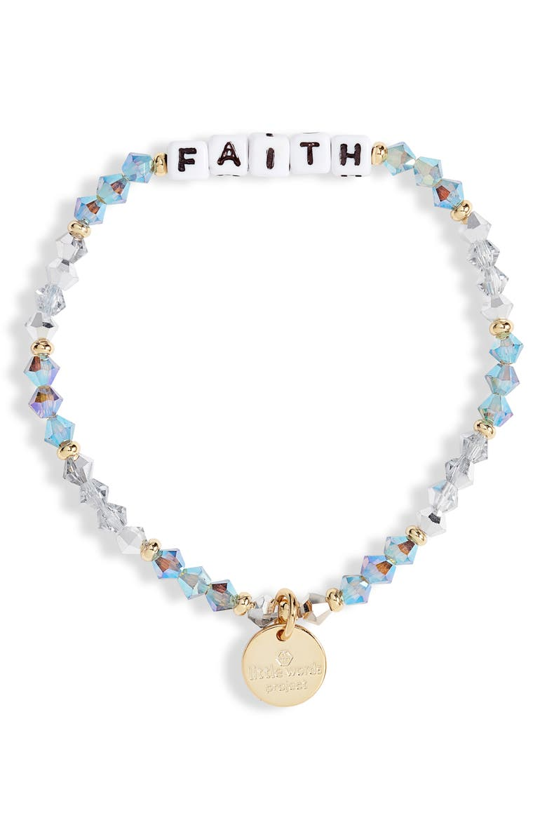 LITTLE WORDS PROJECT Faith Beaded Stretch Bracelet, Main, color, TWINKLE/ WHITE