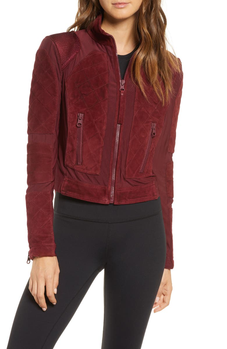 BLANC NOIR Suede & Mesh Moto Jacket, Main, color, BORDEAUX