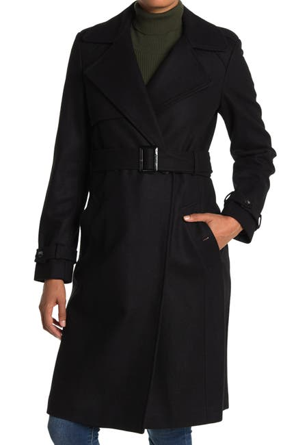 Image of DKNY Belted Wool Trench