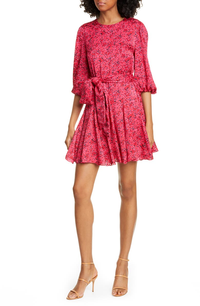 ALICE + OLIVIA Mina Floral Print Puff Sleeve Minidress, Main, color, BRIGHT PINK MULTI