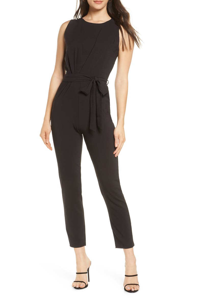 FRAICHE BY J Sleeveless Stretch Crepe Jumpsuit, Main, color, 001