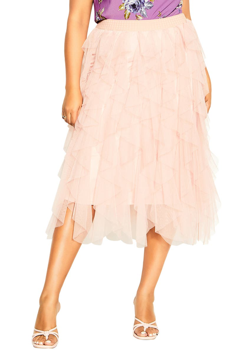 CITY CHIC Wild Pixy Layered Tulle Skirt, Main, color, ROSE