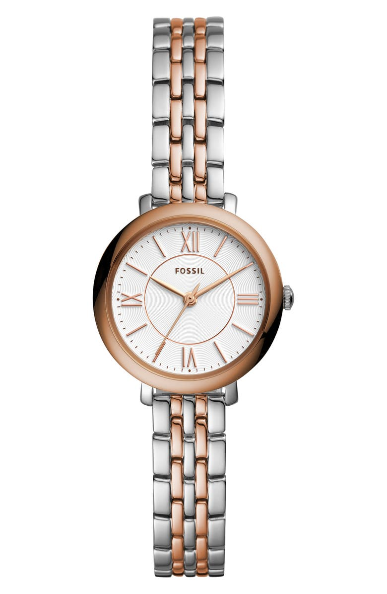 FOSSIL 'Jacqueline' Round Bracelet Watch, 26mm, Main, color, SILVER/ ROSE GOLD