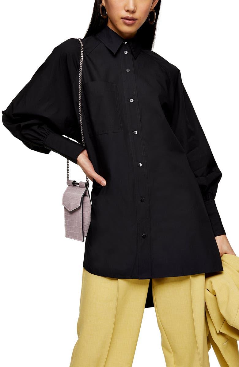 TOPSHOP Oversize Poplin Shirt, Main, color, 001