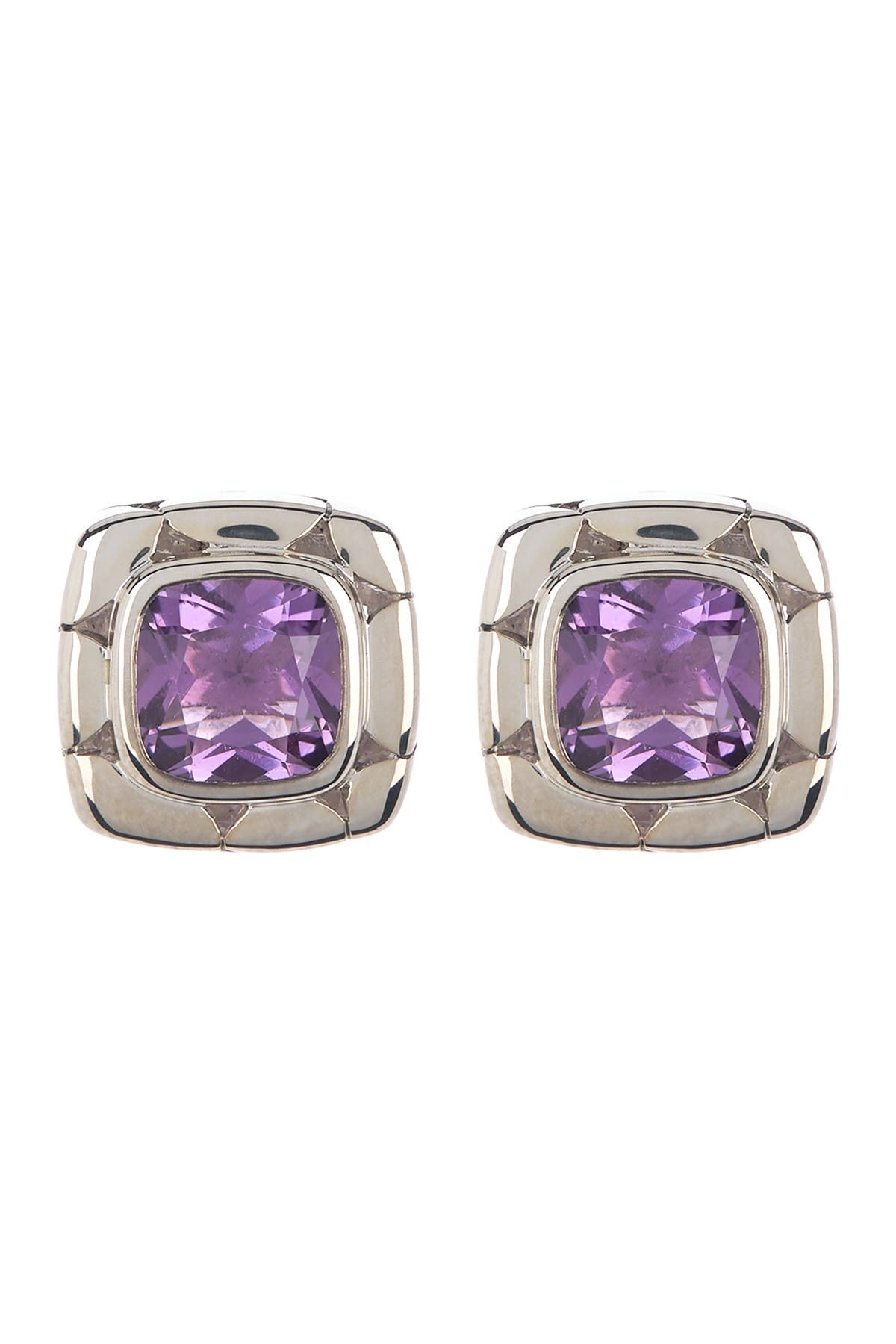Image of JOHN HARDY Sterling Silver Kali Amethyst Square Stud Earrings