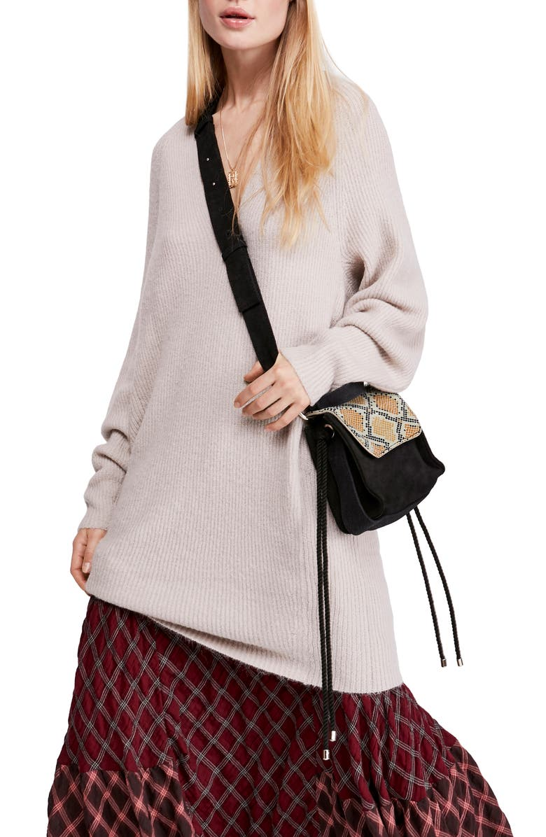 FREE PEOPLE Ribbed Tunic Sweater, Main, color, GREY