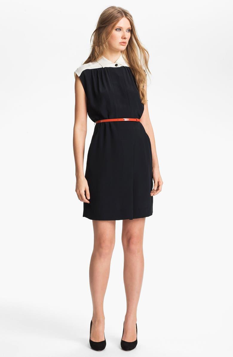 MISS WU Belted Crêpe de Chine Shirtdress, Main, color, 001