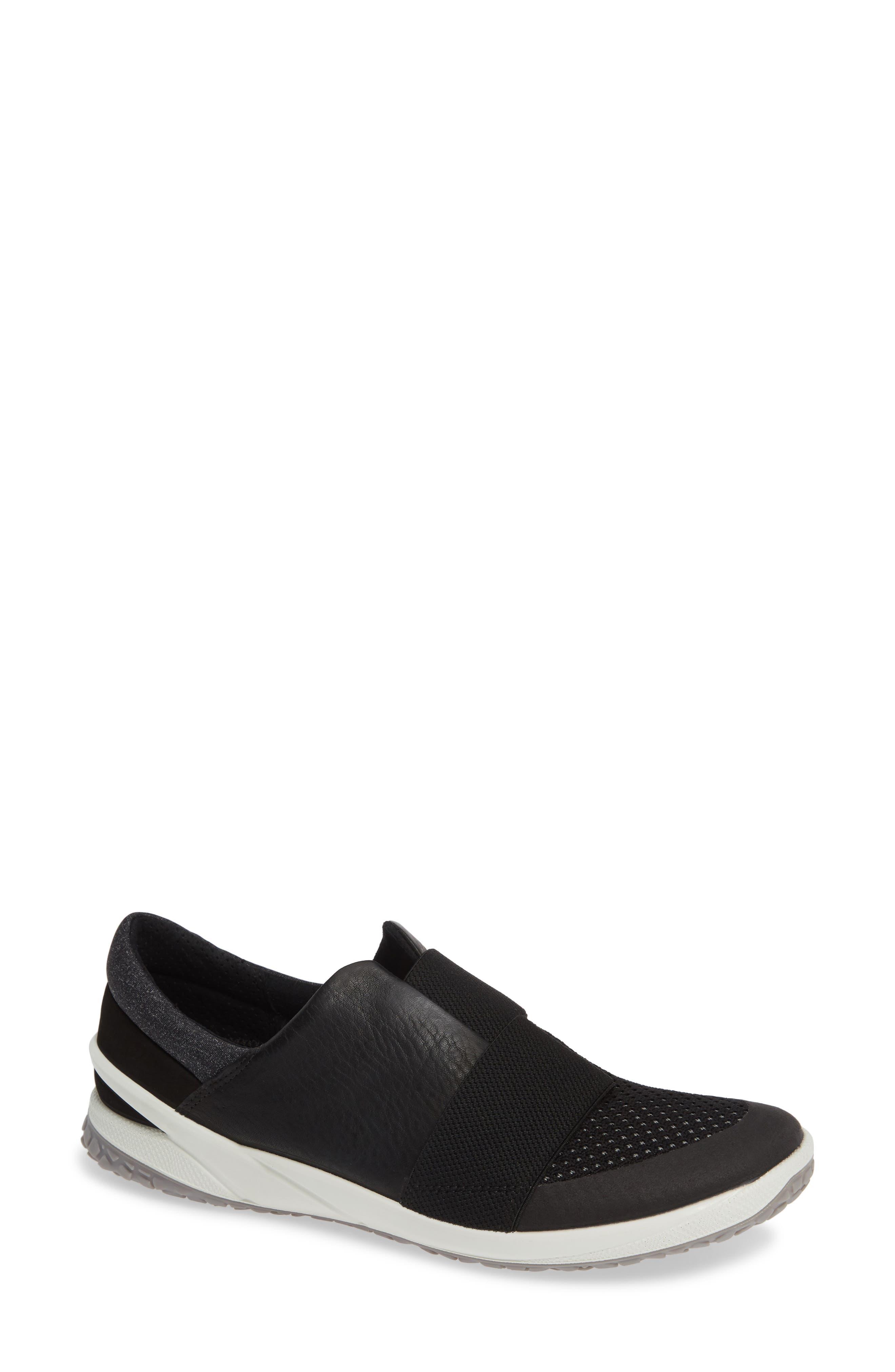 BIOM Slip-On Sneaker, Main, color, BLACK LEATHER