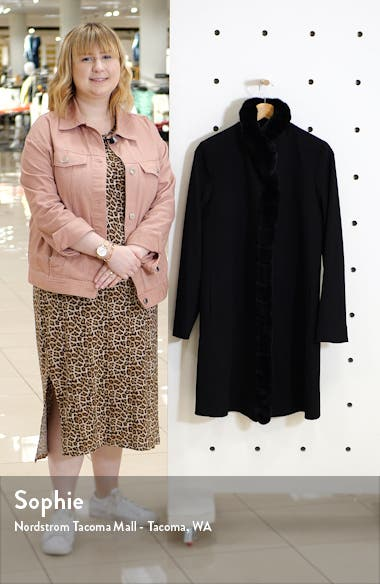 Wool Car Coat with Genuine Rex Rabbit Fur Trim, sales video thumbnail
