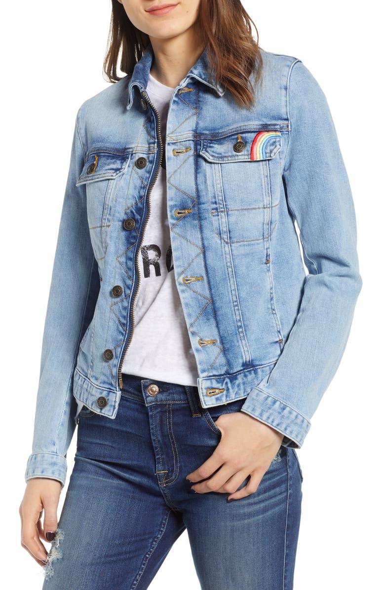 ZADIG & VOLTAIRE Embroidered Denim Jacket, Main, color, 471