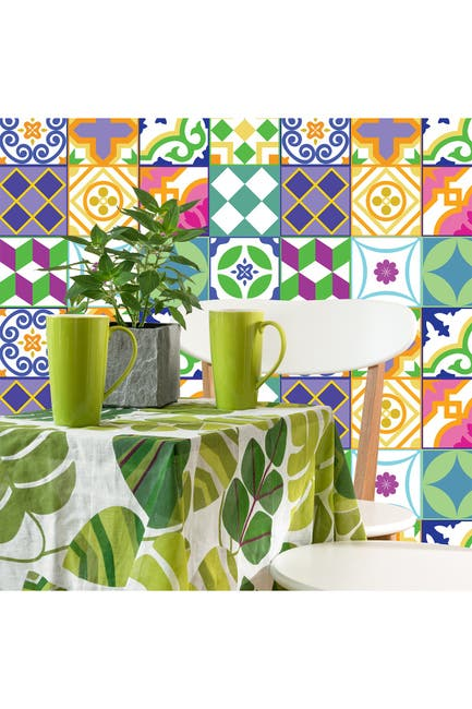 Image of WalPlus Classic Spanish Colorful Mixed Tiles Wall Stickers Set 1 - 6 x 6 inches - 24 Pieces