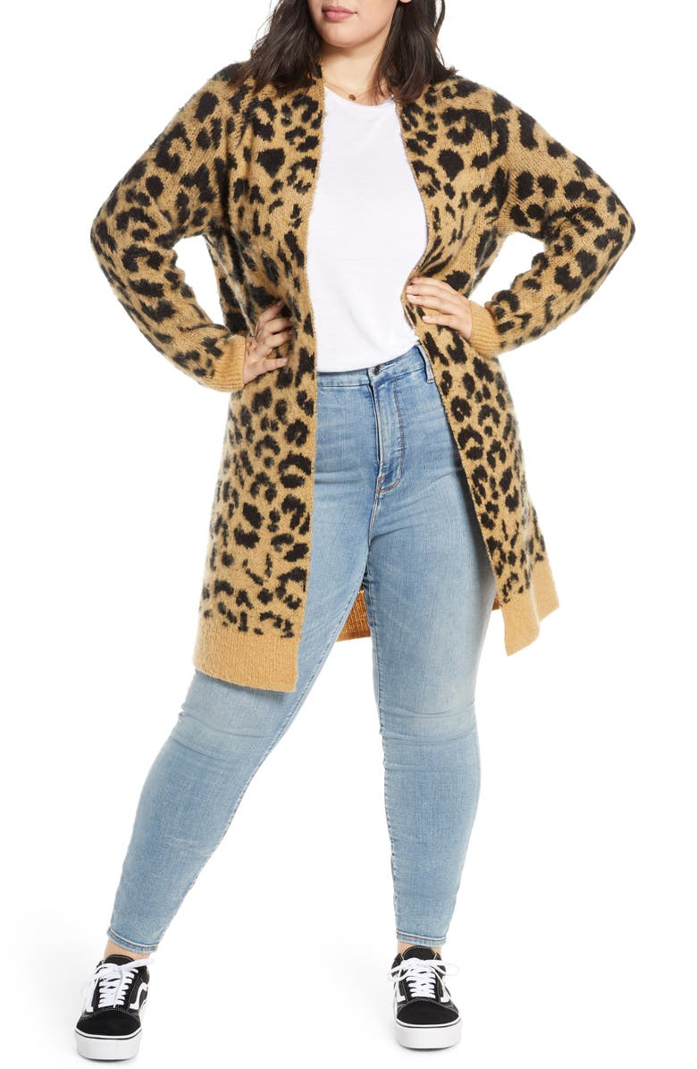 BP. Long Leopard Jacquard Cardigan, Main, color, 260