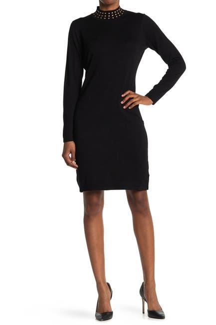 Image of Nina Leonard Jewel Mock Neck Sweater Dress