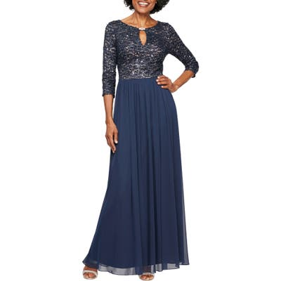 Petite Alex Evenings Embellished Keyhole Gown, Blue