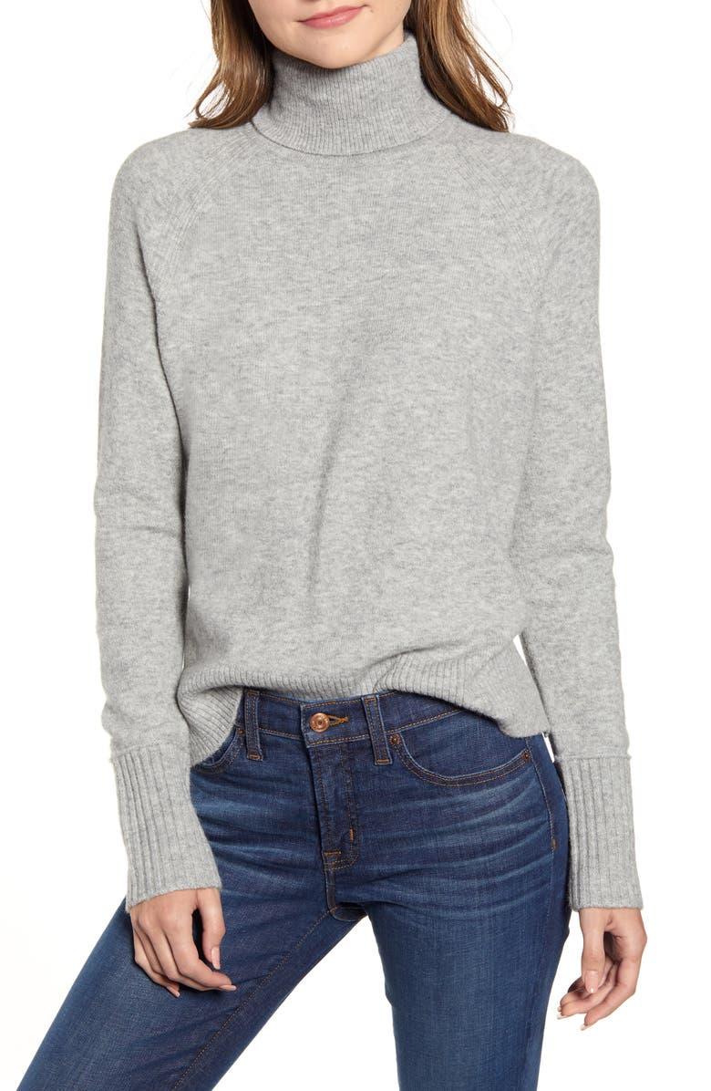 J.CREW Side Slit Supersoft Turtleneck Sweater, Main, color, HEATHER GREY