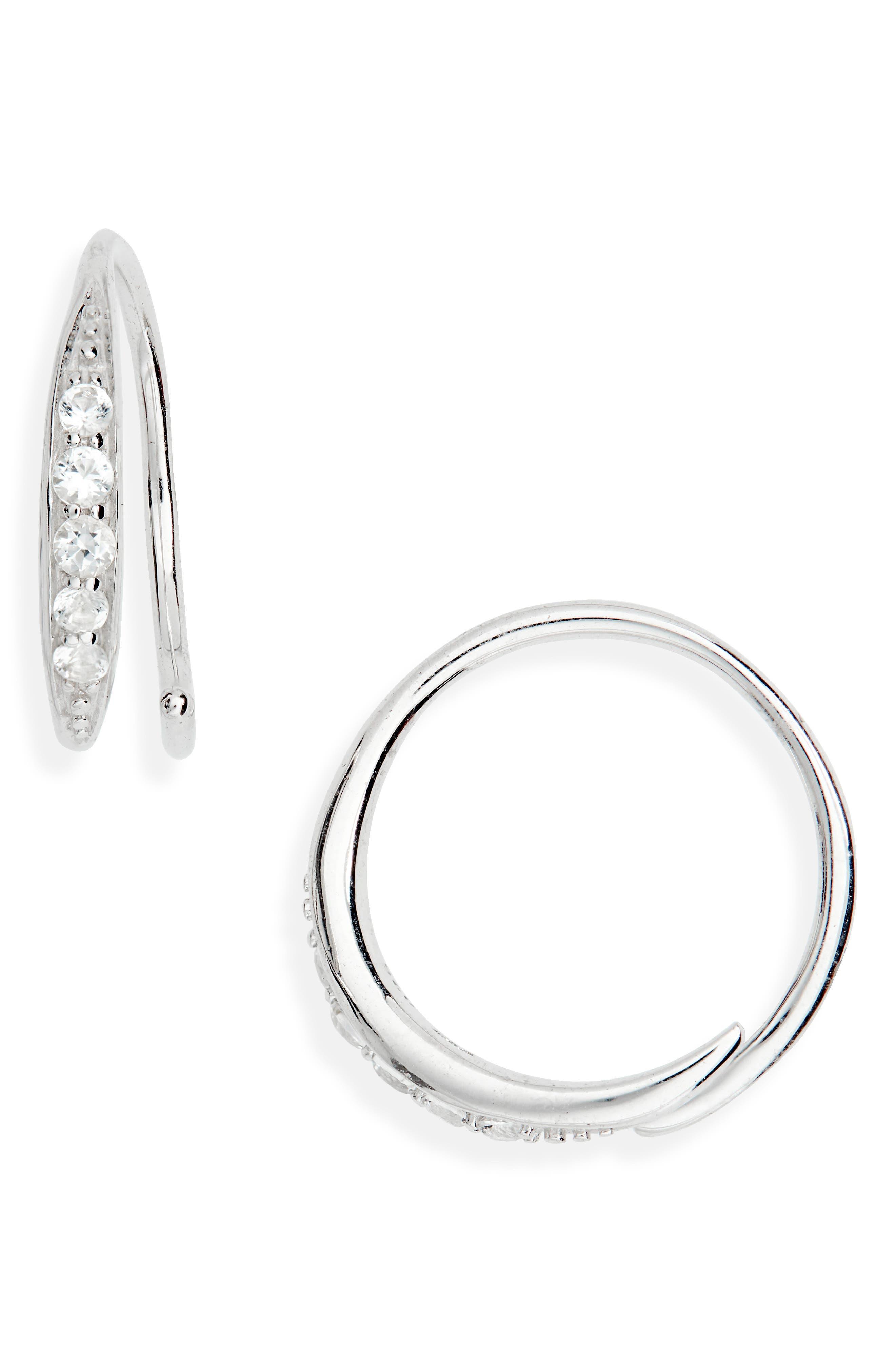 Mini Ear Loop Topaz Earrings, Main, color, 925 STERLING SILVER