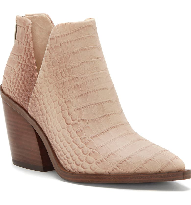VINCE CAMUTO Gigietta Bootie, Main, color, TOASTY EMBOSSED LEATHER