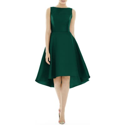 Alfred Sung High/low Satin Twill Cocktail Dress, Green