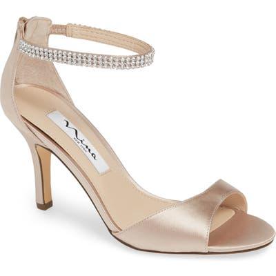 Nina Volanda Ankle Strap Sandal- Beige