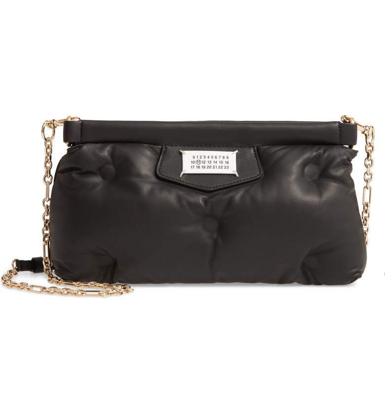 MAISON MARGIELA Glam Slam Plush Leather Clutch, Main, color, BLACK