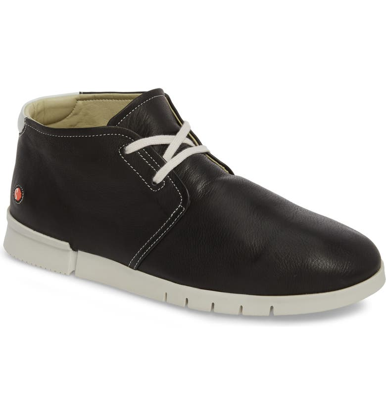 SOFTINOS BY FLY LONDON Coi Chukka Boot, Main, color, BLACK/ WHITE LEATHER