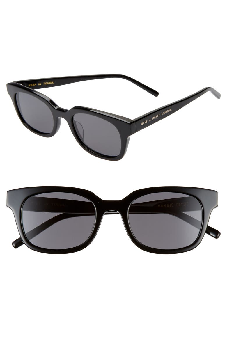 BONNIE CLYDE Chess Club 50mm Square Sunglasses, Main, color, BLACK