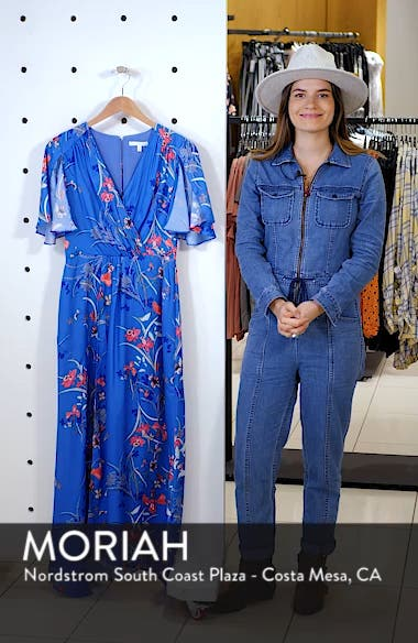 Printed Flutter Sleeve Gown, sales video thumbnail