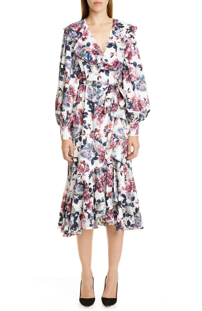ERDEM Rose Print Ruffle Long Sleeve Midi Dress, Main, color, WHITE / RED