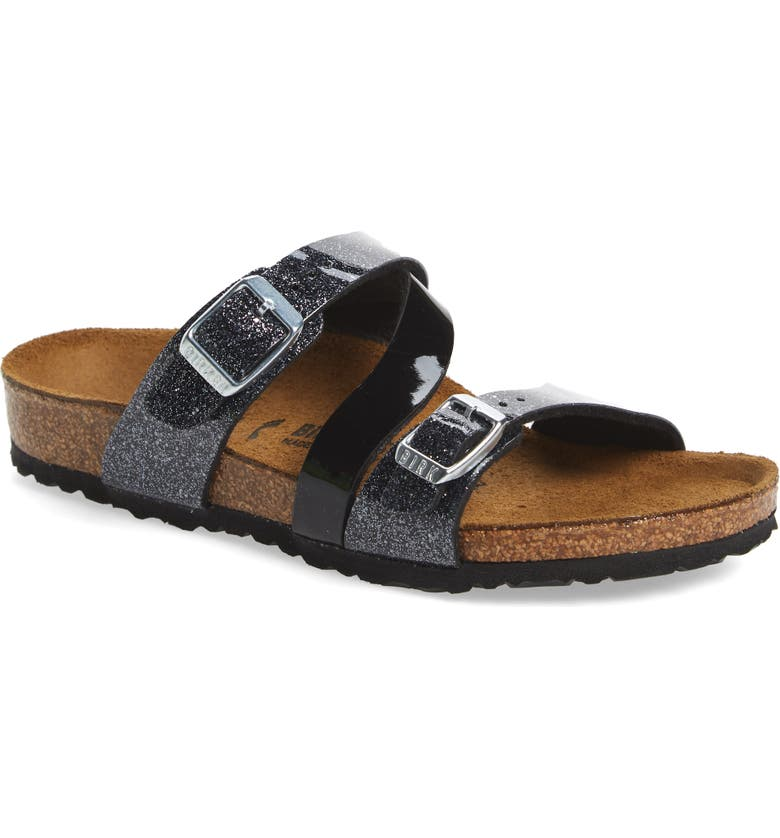 BIRKENSTOCK Salina Sparkle Slide Sandal, Main, color, COSMIC SPARKLE BLACK