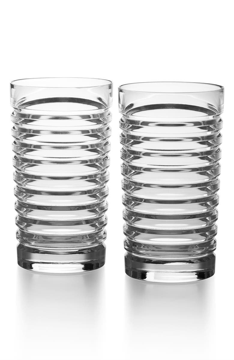 RALPH LAUREN Metropolis Set of 2 Lead Crystal Highball Glasses, Main, color, CLEAR