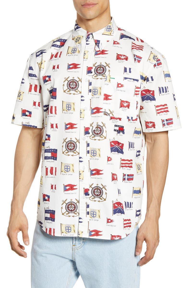 TOMMY JEANS TJM Summer Flags Short Sleeve Button-Down Shirt, Main, color, CLOUD DANCER / AOP
