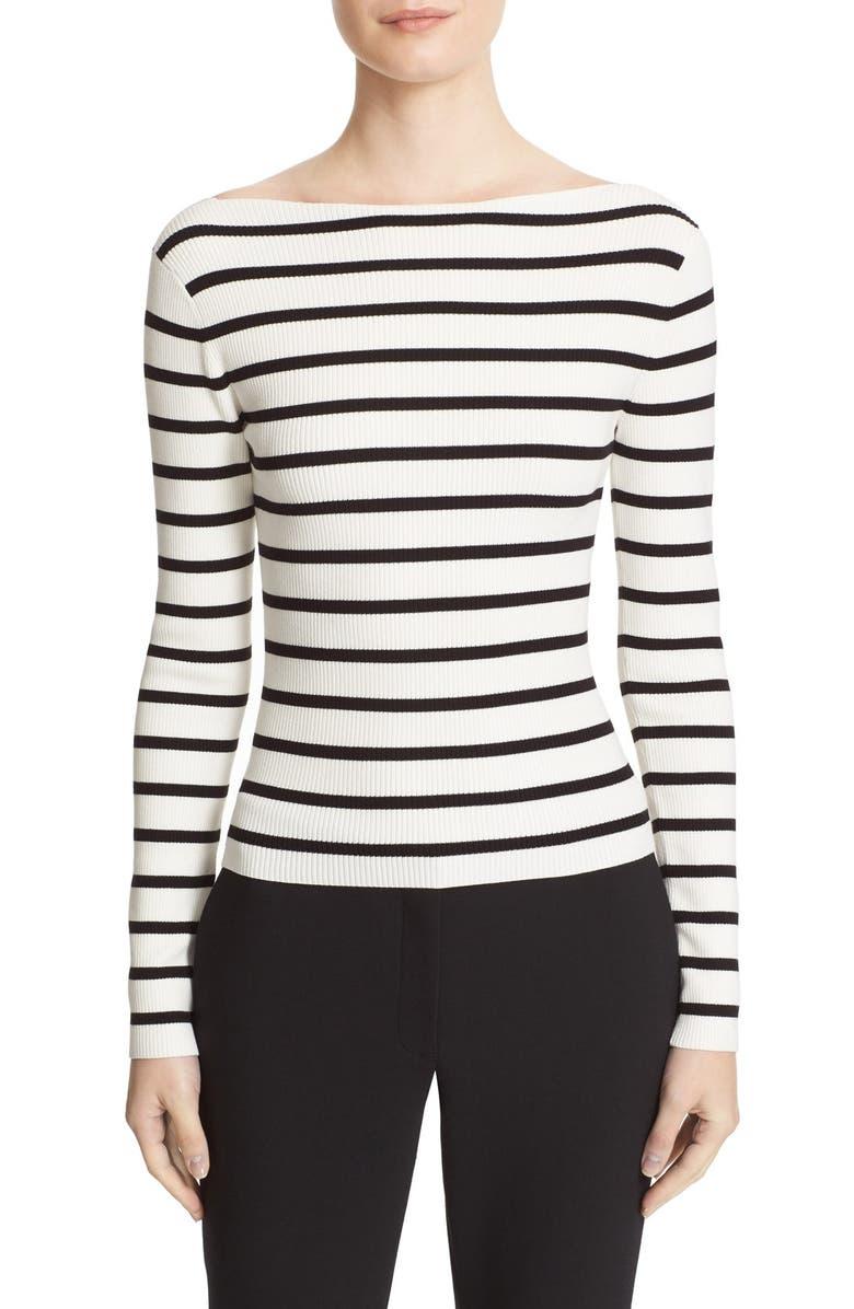 THEORY Blasina ST V-Back Rib Knit Sweater, Main, color, 107