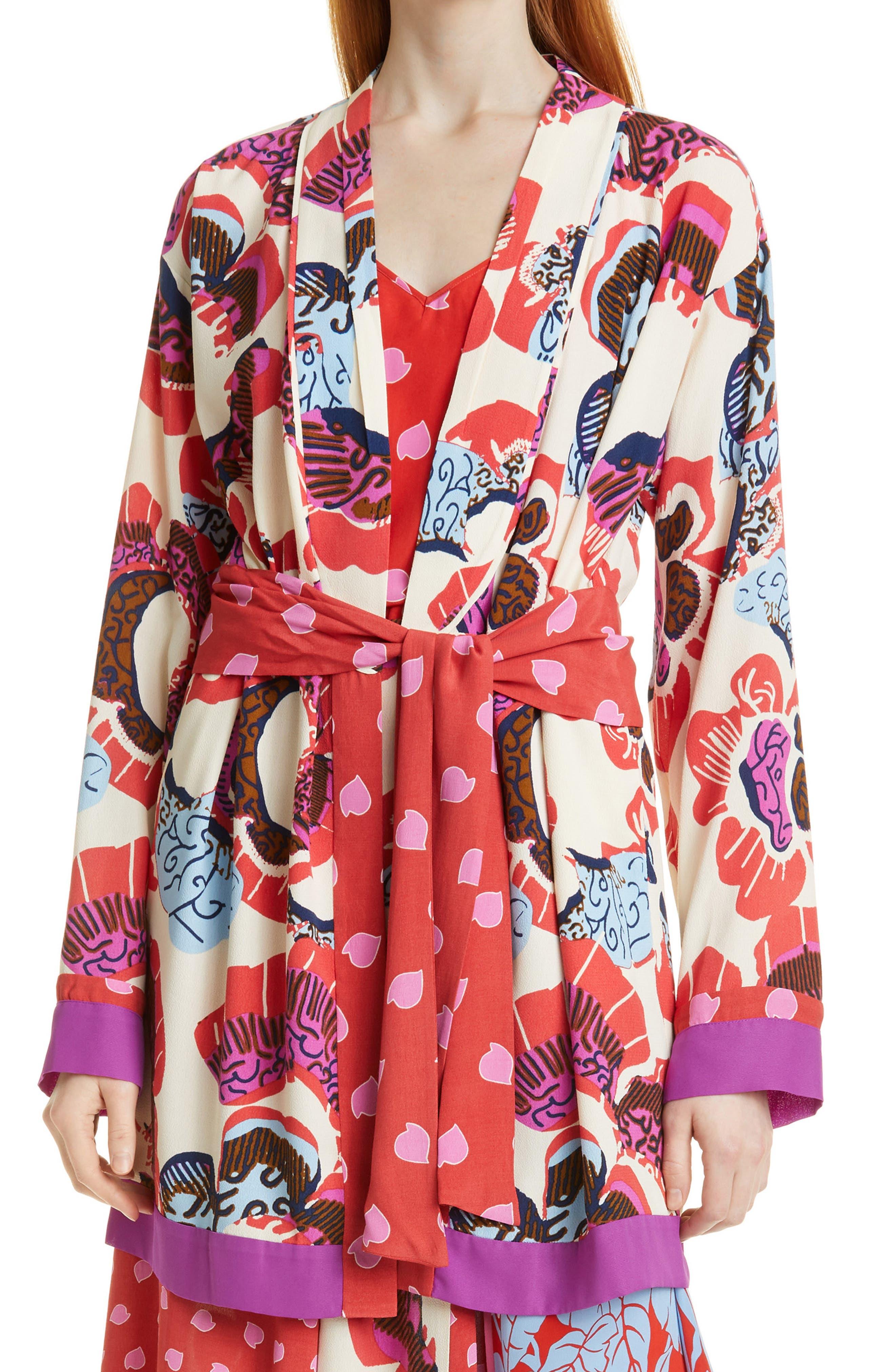 April Floral Mix Print Tie Waist Jacket