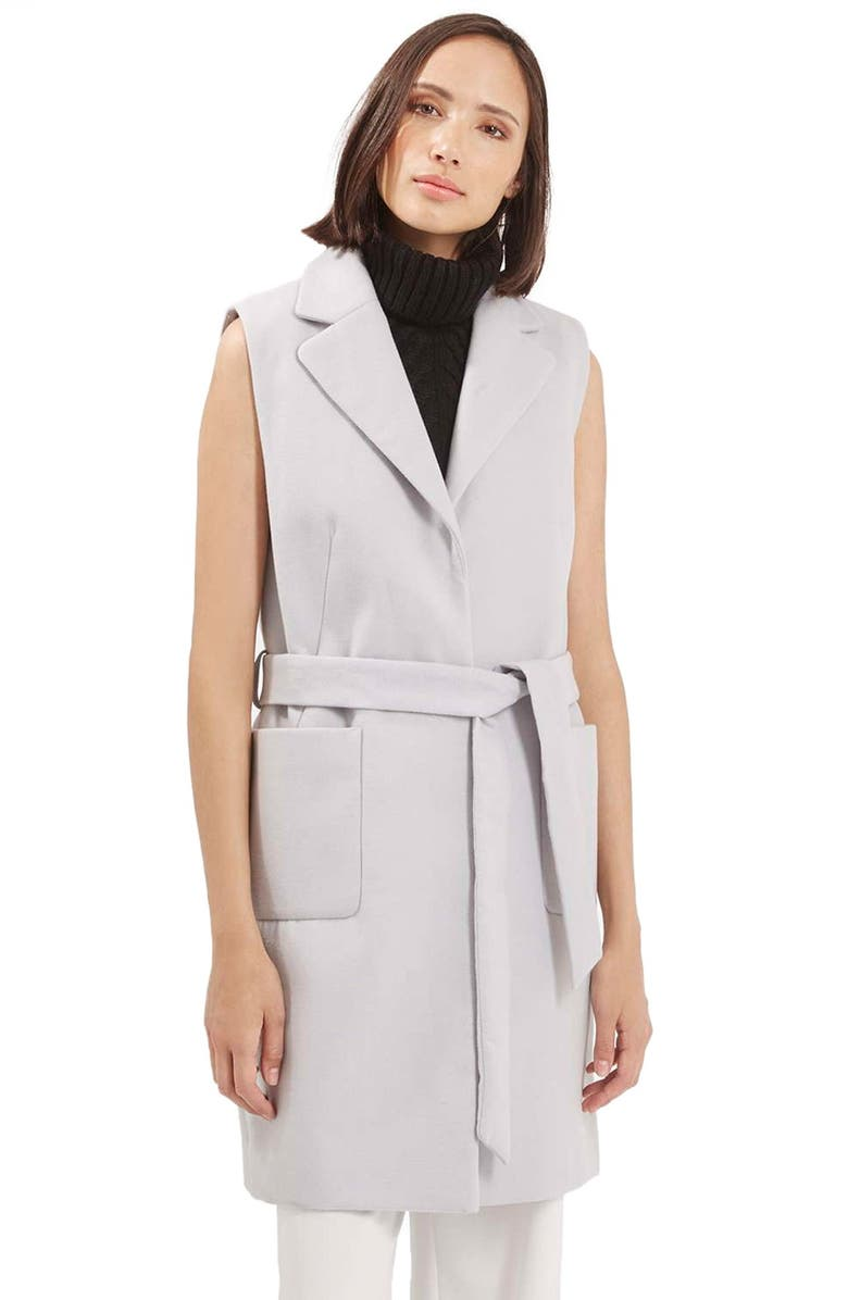 TOPSHOP Sleeveless Belted Coat, Main, color, 050