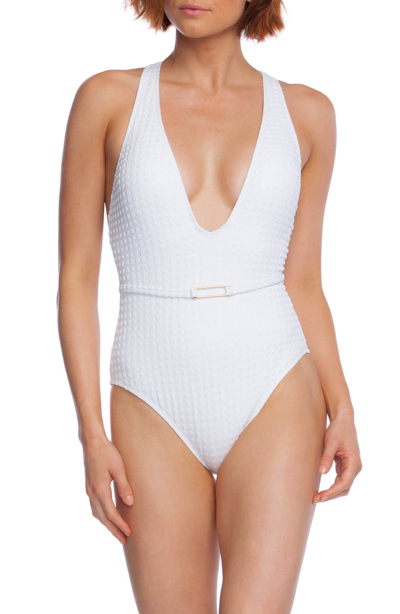 LA BLANCA Mio Plunge Point Belt One-Piece Swimsuit, Main, color, 100