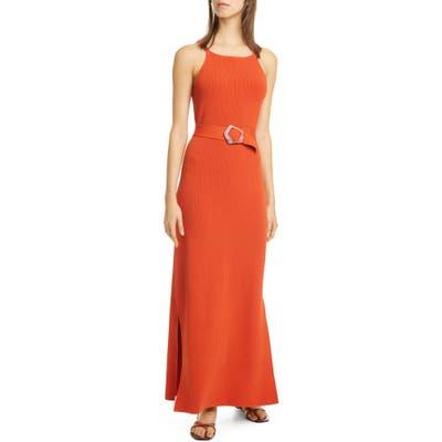 Nicholas Lily Ribbed Belted Maxi Dress, Orange